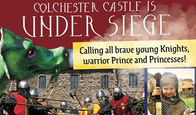 Colchester Castle is Under Siege - Calling all brave young knights, warrior princes, and princesses. 29 - 30 August 2021 [Photo of battling Knights]