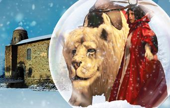 The Snow Lion and Snow Queen stand in front of the Castle