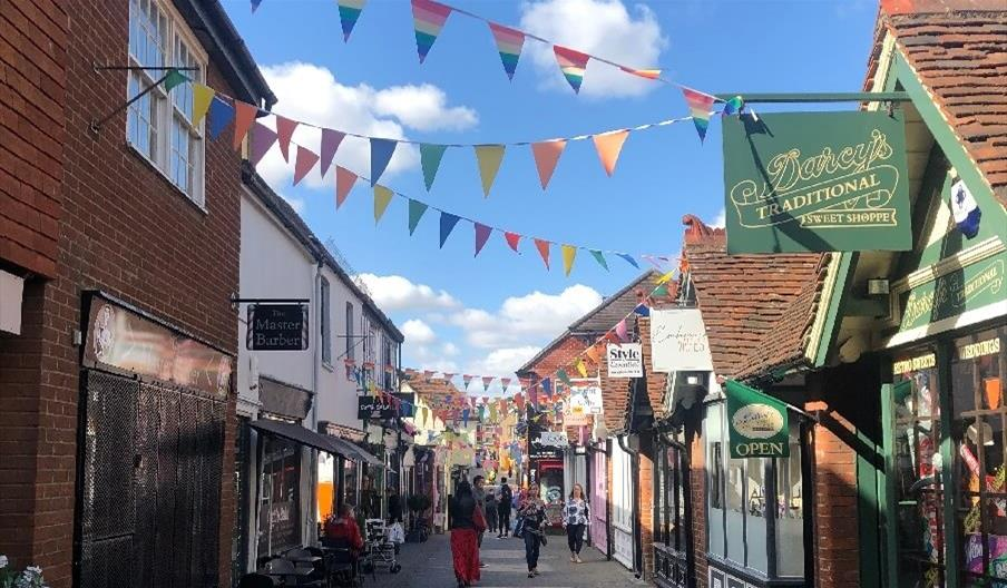 The South Lanes, Colchester with bunting