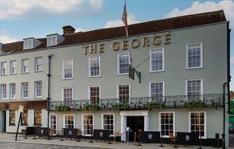 The George Hotel exterior showing outside seating.
