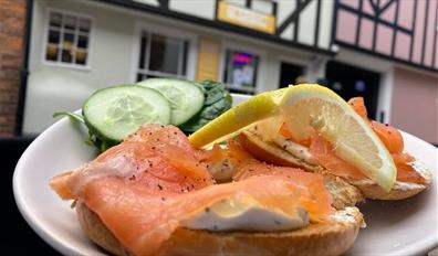 Smoked Salmon Bagel outside Toasted