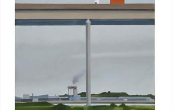 A painting of an industrial landscape
