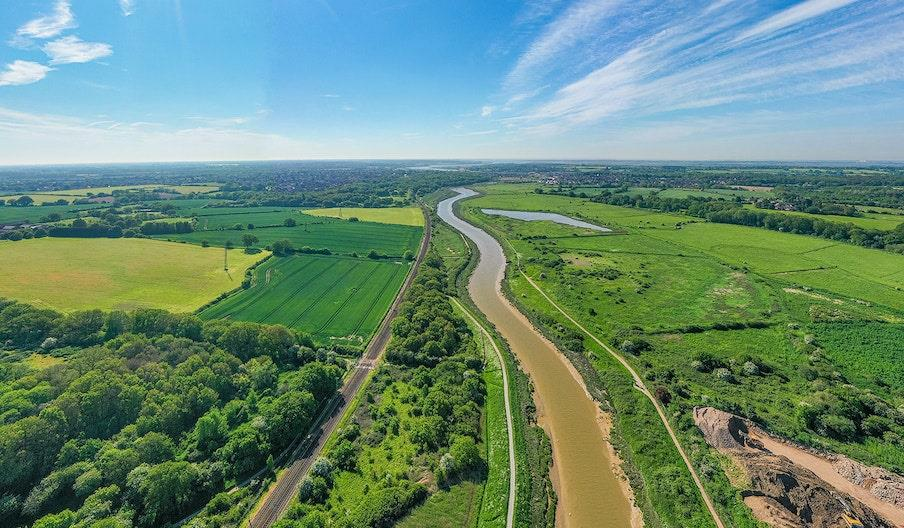 The Wivenhoe Trail, running between the river and railway line taken by a drone.