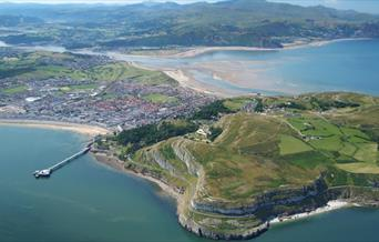 Aerial view of the Great Orme in Llandudno.