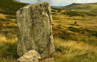 Bwlch y Ddeufaen (Pass of the two stones) with the two stones in view