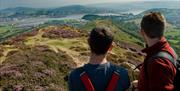 Admiring the view of the Conwy Valley from Conwy Mountain.