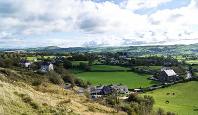 Houses and countryside surrounding Mynydd Marian