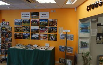 Leaflets display at Llanrwst Tourist Information Point