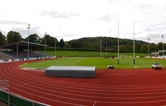 Running track and playing field at Eirias Leisure Centre, Colwyn Bay