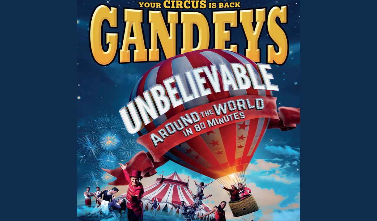 Llun yn dangos logo Gandeys Circus Around the World