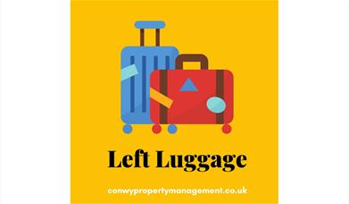 Blue and Red suitcase Left Luggage logo on yellow background