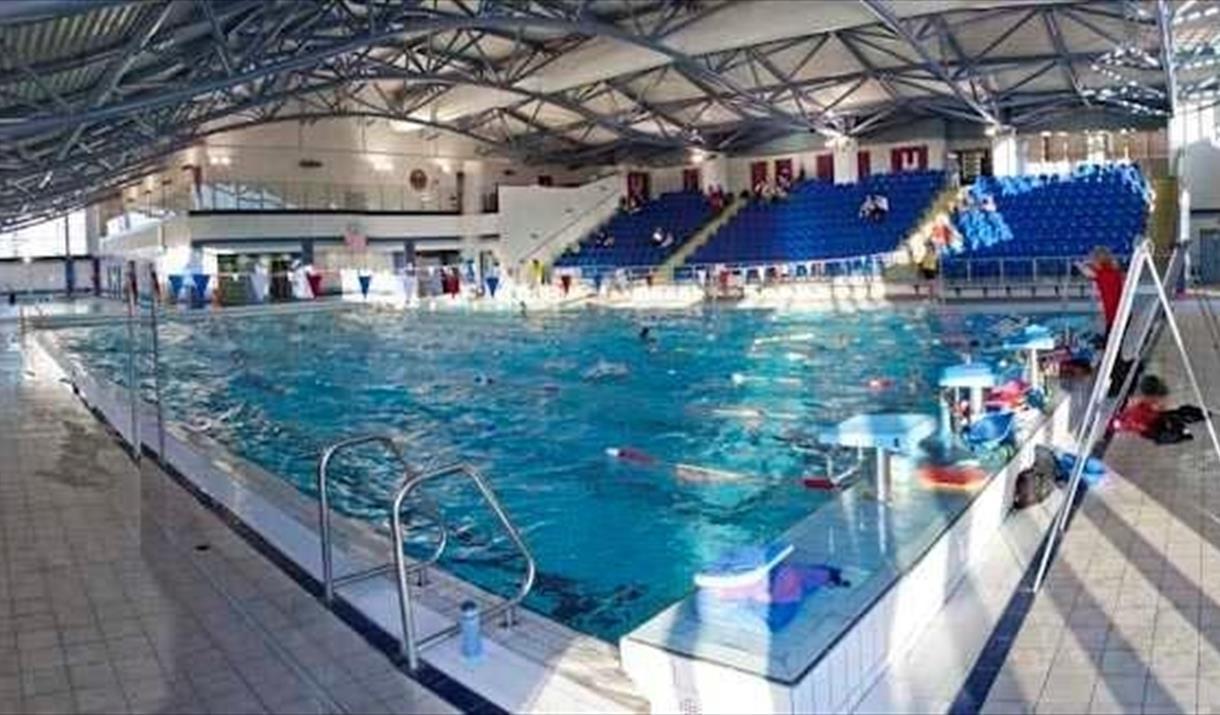 Main pool and viewing stands at Llandudno Swimming Centre