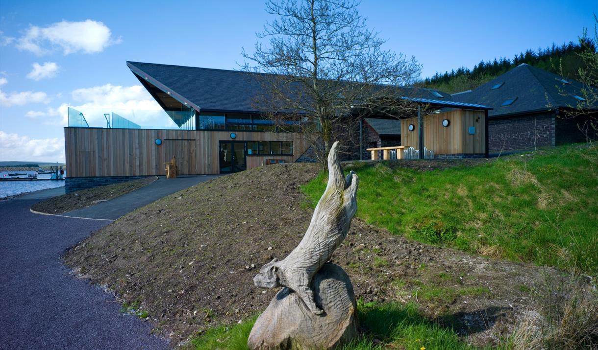 Carved animal statue outside Llyn Brenig Reservoir & Visitor Centre