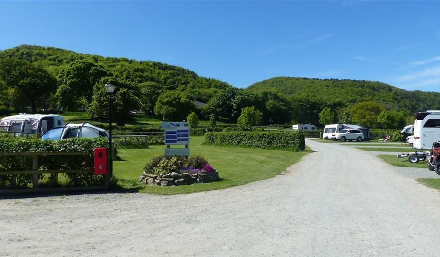 gravelled drive way to camping pitches