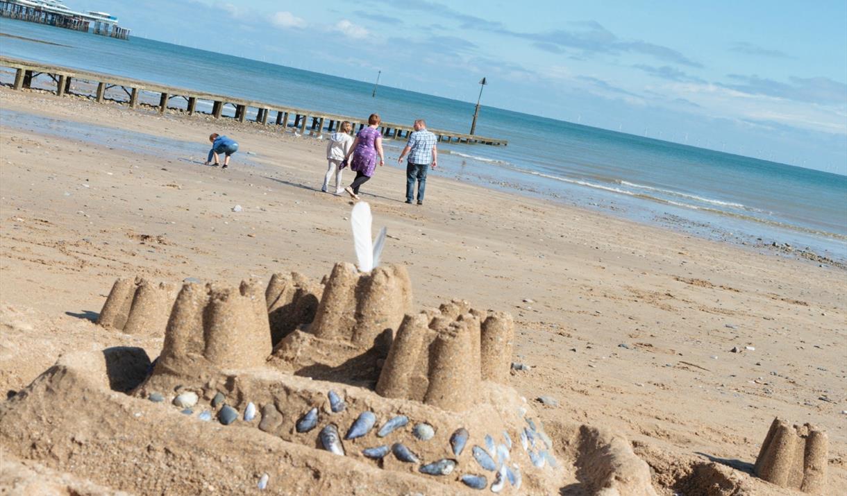 A sand castle on Llandudno North Shore Beach.