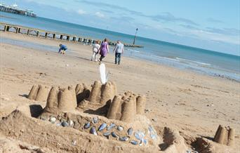 A sand castle on Llandudno North Shore Beach.