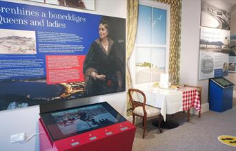 Image of information panel and audio visual display at Llandudno Museum.