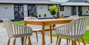 Image of  dining terrace at Rwst Holiday Lodges