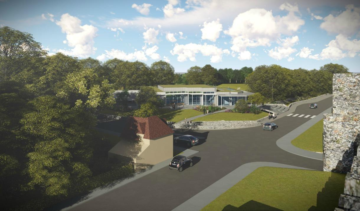 An artists impression of the Conwy Culture Centre, located by the town walls.