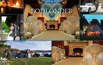 Collage of photos showing Bodlondeb decorated for weddings