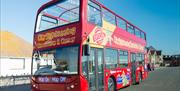 Red City Sightseeing bus parked on street
