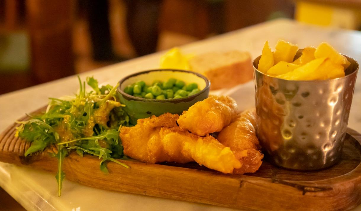 Meal of fish, chips and peas, Kinmel Arms, Abergele