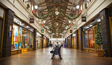 Inside of Victoria Shopping Centre at Christmas