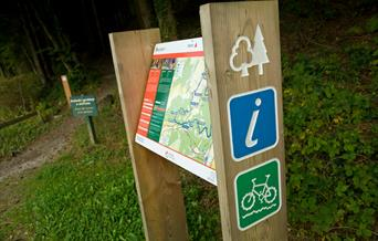 An information board showing the route of Gwydir Mawr and Bach, Llanrwst.