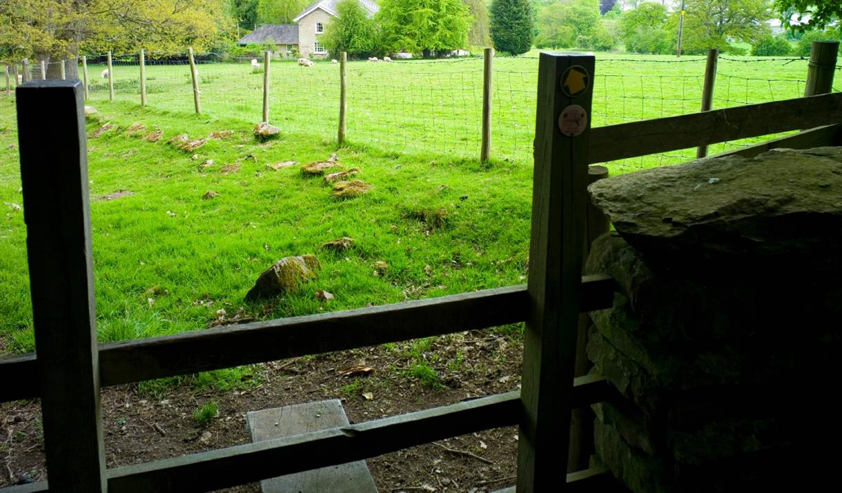 Stile into a field with public pathway