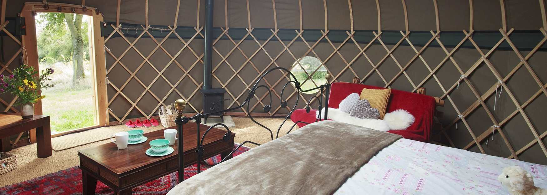 Inside one of the Campden Yurts