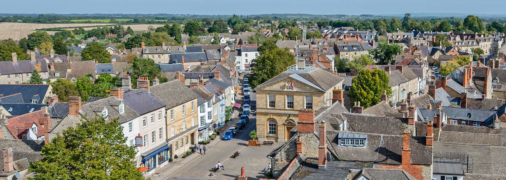 Looking down on Woodstock from the church tower (photo by Jay Alice Photographic)