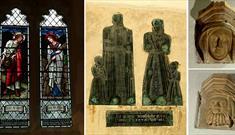 Burnes-Jones window, medival brass to the Malorye family and stone corbels: St Peter's Church, Alvescott (©Derek Cotterill)