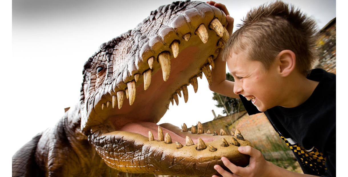 Child and dinosaur