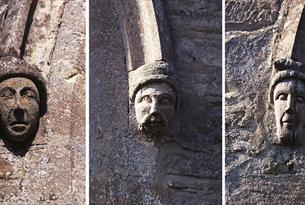 Carved heads on St James the Great Church in South Leigh