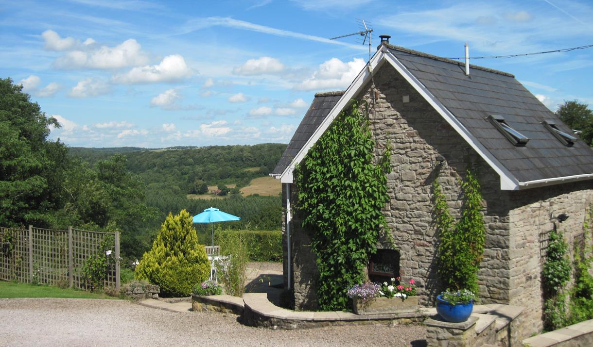 Side view of Robin's Barn overlooking Wye Valley
