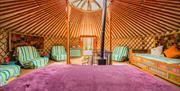 Inside a yurt at Hidden Valley Yurts