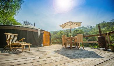 Yurt 4 in sunshine at Hidden Valley Yurts glamping site