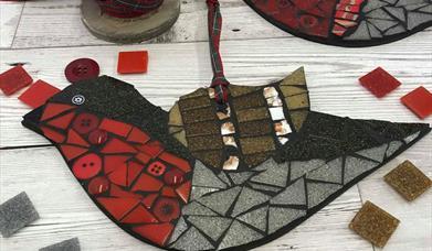 Mosaic Christmas Wreath workshop at The Inspiring Creativity Studio