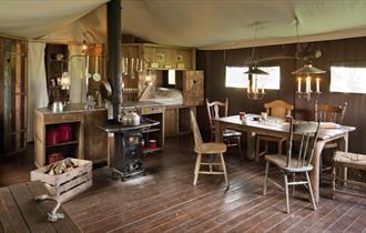 dark wooden dining area