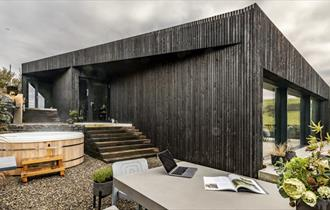 Black wooden lodge
