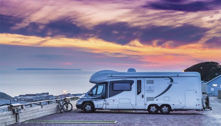 caravan at sunset