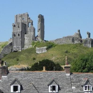Historic ruins of Corfe Castle in Dorset