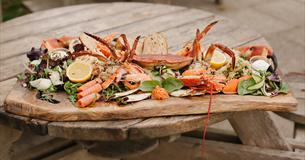 Fresh seafood at the Hive Beach Cafe, Burton Bradstock, Dorset