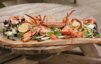 Fresh seafood at the Hive Beach Cafe, Burton Bradstock, Dorset