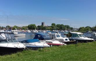 Christchurch Harbour and Quay in Dorset, next to the Stour Valley Way
