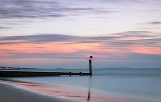 Alum Chine beach at dusk