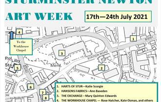 Sturminster Newton Art Trail Map listing venues and artists