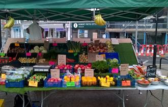 Blandford Market fruit and vegetable stall