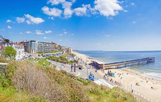 Stunning shot of Boscombe beach and the pier during summer