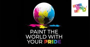 The world painted with yellow, blue and pink paint